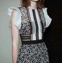 Frill Sleeved daisy guipure mini dress