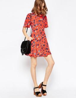 ASOS Printed Tea Dress in Floral