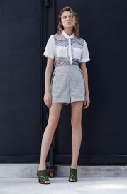 Printed Chiffon Short Sleeve Shirt & Tweed Tailoring