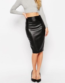 ASOS Pencil Skirt In Leather Look With Seam Details-$56.61
