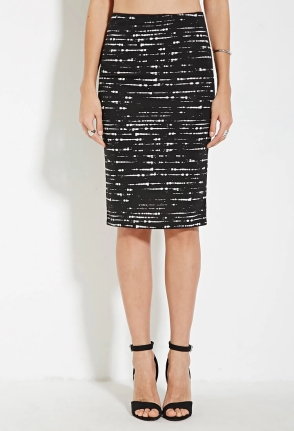 Forever 21 Contemporary Abstract Striped Bodycon Skirt- $8.90