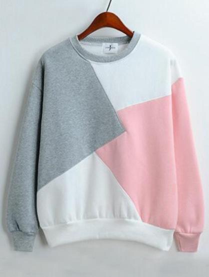 Romwe-Color-block loose grey pink sweatshirt