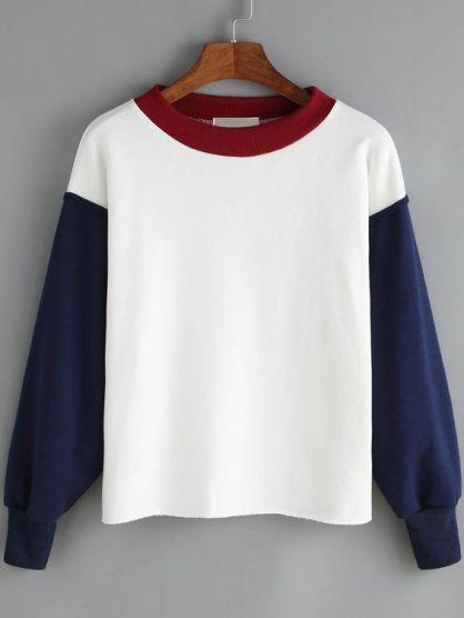 Sheln-White Blue Contrast Collar Crop Sweatshirt