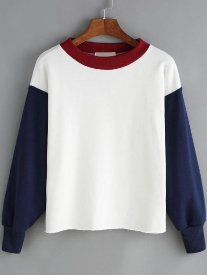 Sheln-White Blue Contrast Collar Crop Sweatshirt