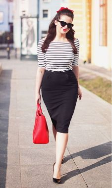 Striped shirt and pencil skirt