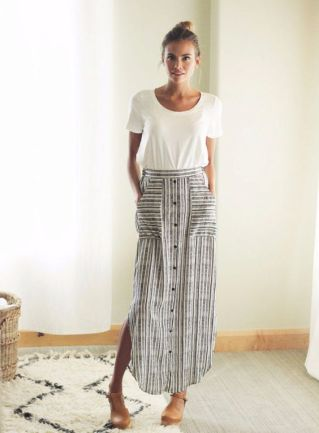 striped maxi skirt and white tee