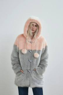 LAZY OAF PEACH PANEL FUR COAT
