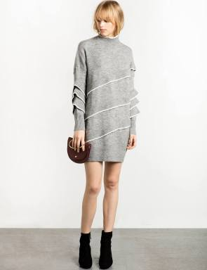 grey-ruffled-sweater-dress