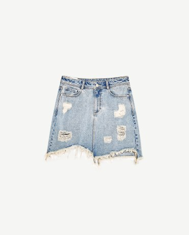 DAMAGE DENIM MINI SKIRT